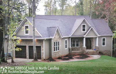 Affordable Gable Roofed Ranch Home Plan - 15885GE thumb - 03