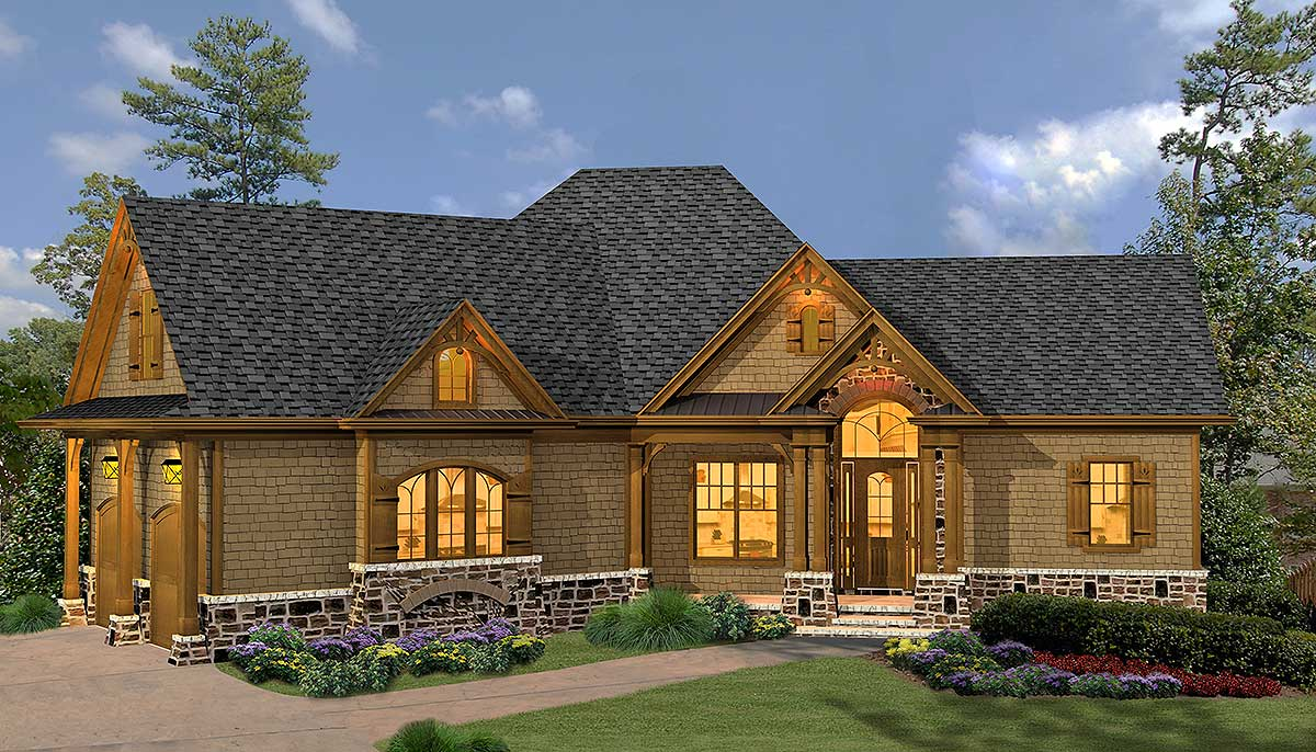 Rustic hip roof 3 bed house plan 15887ge 1st floor for Roof designs for ranch homes