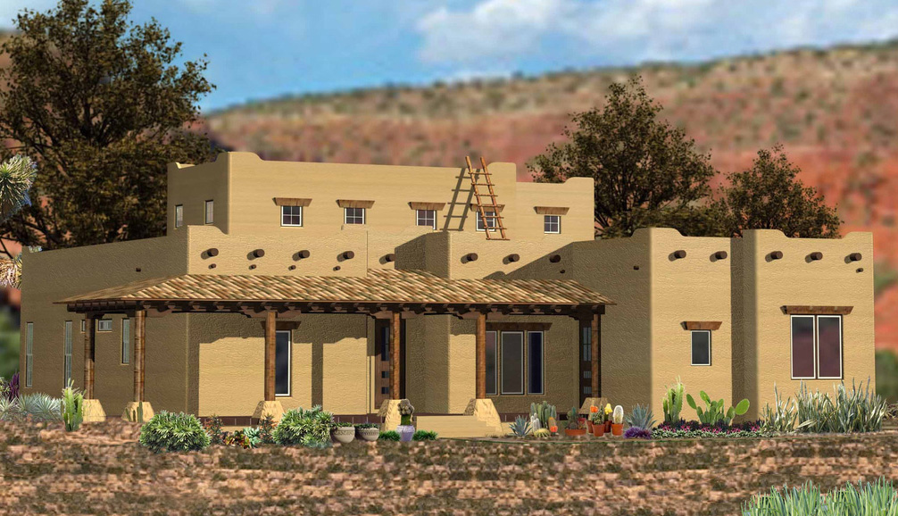 Southwestern Home With Angled Family Room 15896ge