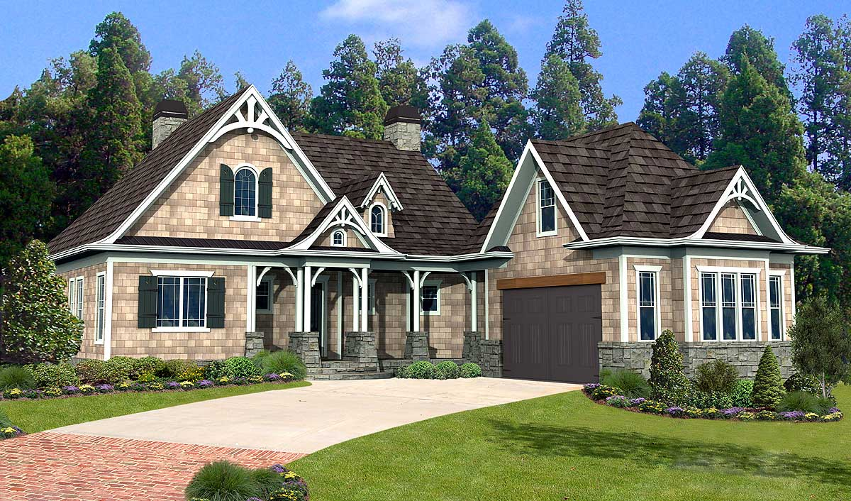 Shake stone and timber dream home plan 15897ge - Stone house designs and floor plans ...