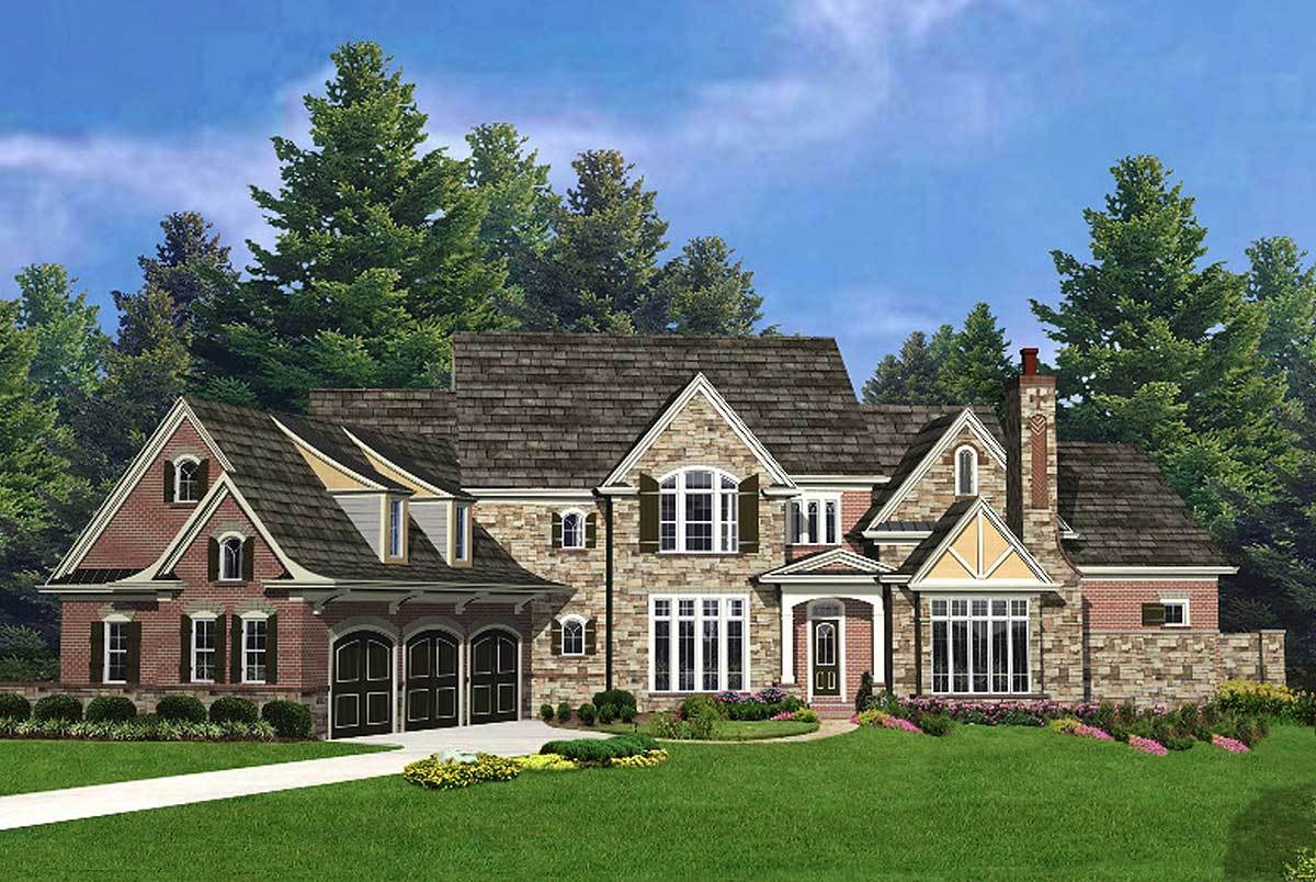 European home with 2 story library 15899ge for European farmhouse plans
