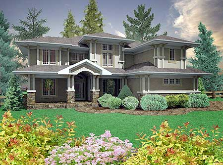 Prairie style home with 3 car garage 16050pn 2nd floor for Craftsman prairie style house plans