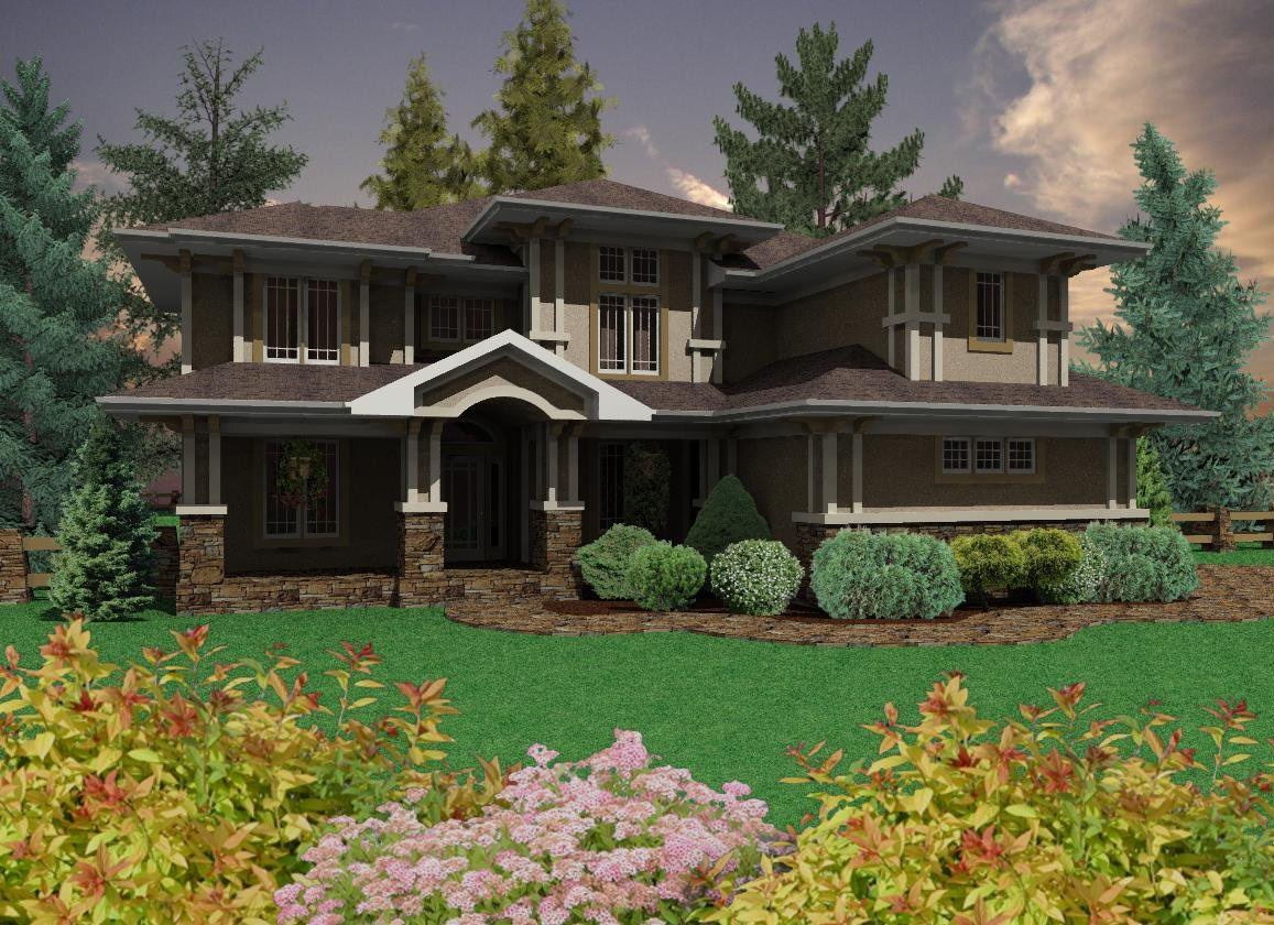 Prairie Style Home With 3 Car Garage 16050pn