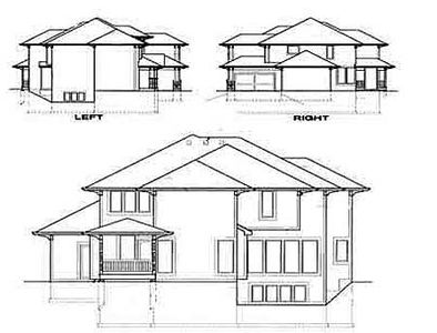 Prairie style home with 3 car garage 16050pn for Prairie style garage plans