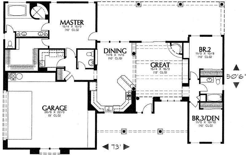 Santa fe styling 16213md 1st floor master suite adobe for Santa fe floor plans