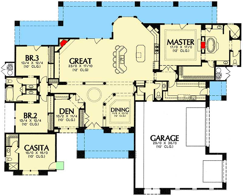 3 bedrooms plus guest casita 16306md architectural for 2 bedroom casita plans