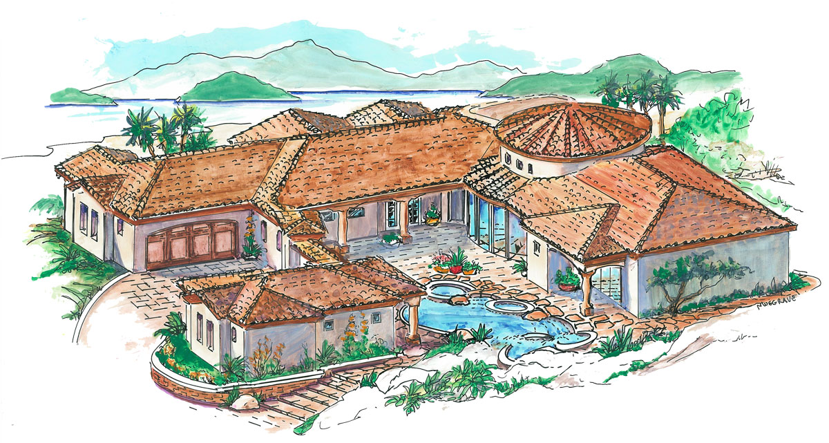 Courtyard plan with guest casita 16312md 1st floor for Mexican house plans