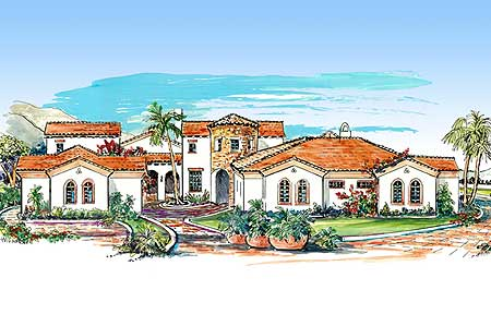 Architectural designs for Mediterranean house plans with courtyards