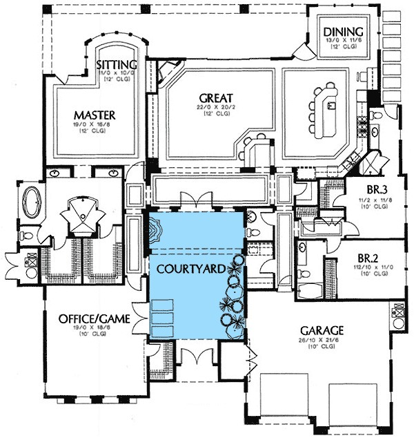 Central Courtyard 16359md 1st Floor Master Suite Butler Walk In Pantry Cad Available