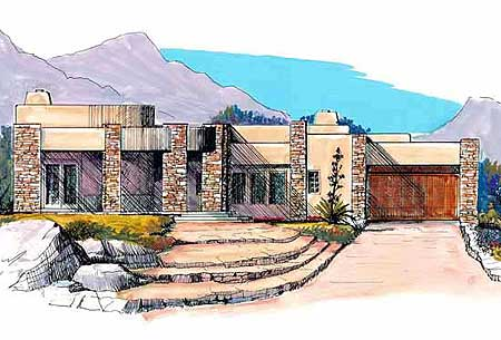 Contemporary Southwestern Home Plan   MD   st Floor Master    Plan MD