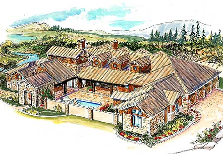 Striking hill country home with courtyard 16375md for Mexican casita house plans