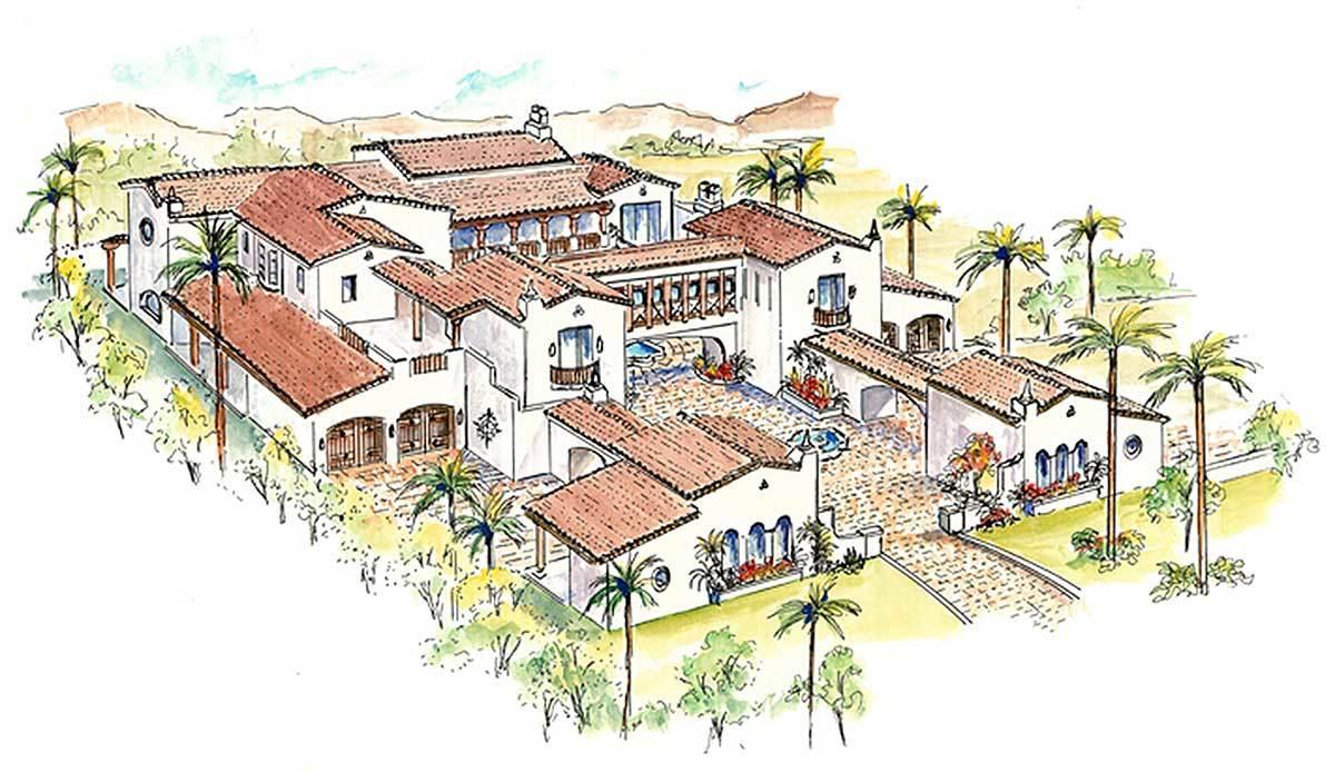 Southwestern estate home 16385md architectural designs for Large estate home plans
