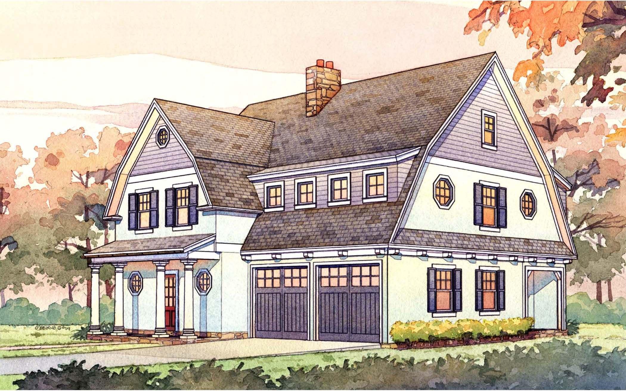 2 story passive solar gambrel house plan - 16503ar | architectural