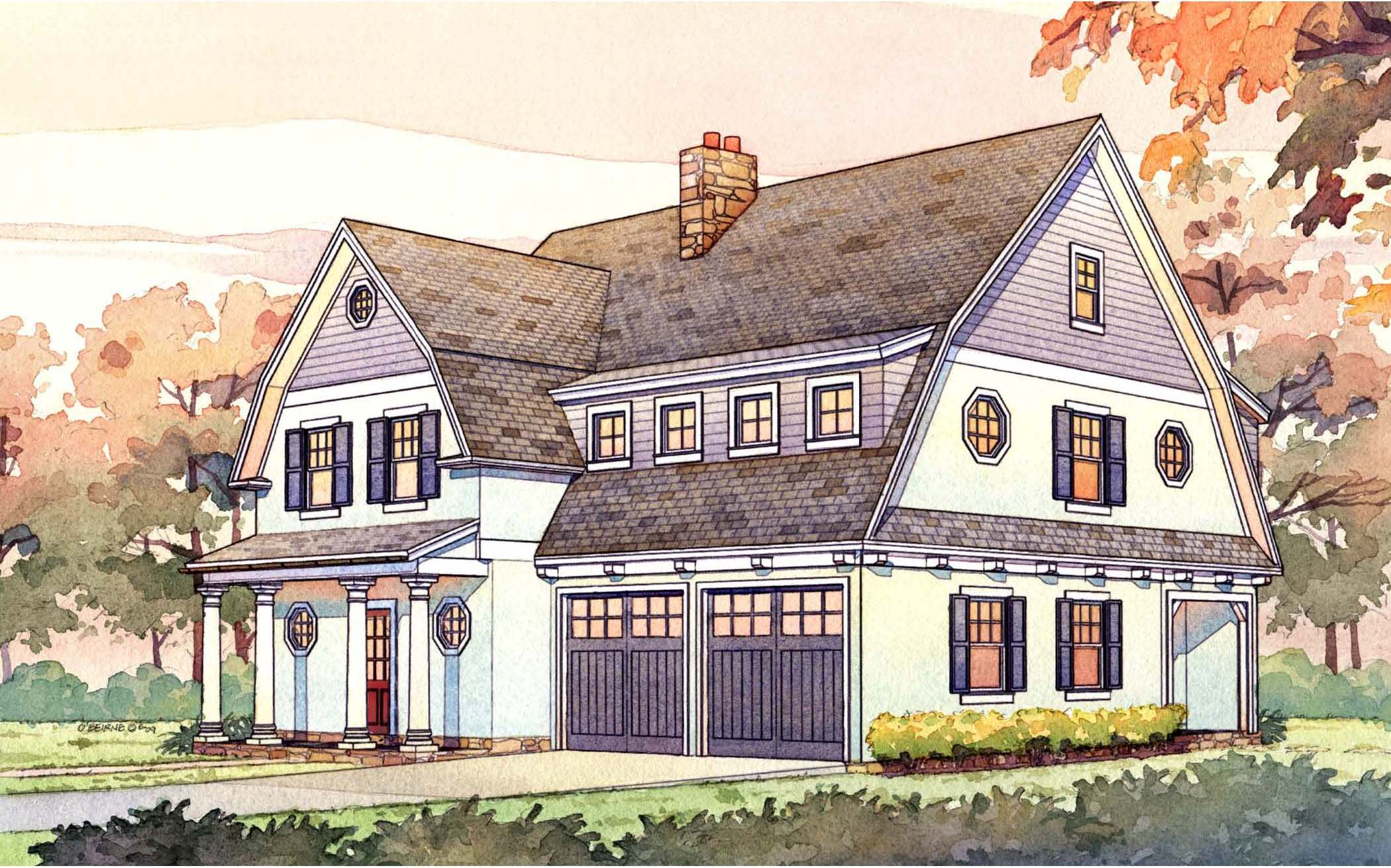 2 story passive solar gambrel house plan 16503ar for Gambrel house designs