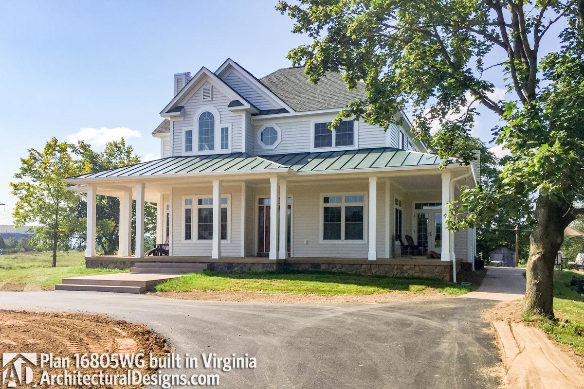 Country farmhouse with wraparound porch 16805wg for Virginia farmhouse plans