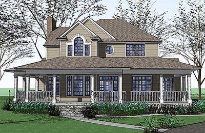 Country Farmhouse with Wraparound Porch - 16805WG thumb - 03