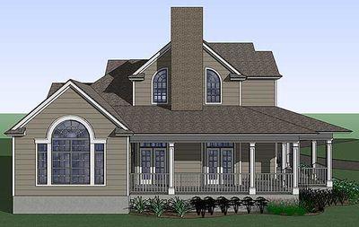 Country Farmhouse with Wraparound Porch - 16805WG thumb - 04