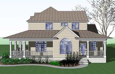Country Farmhouse with Wraparound Porch - 16805WG thumb - 05