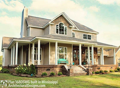 Country Farmhouse with Wraparound Porch - 16805WG thumb - 01