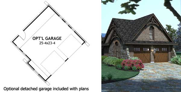 Stone Cottage with Flexible Garage - 16807WG floor plan - Optional Detached Garage