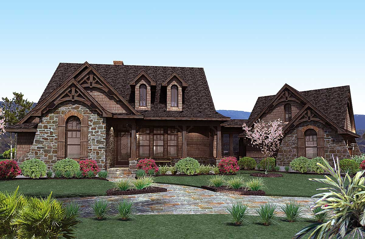 Stone cottage with flexible garage 16807wg for Stone house designs