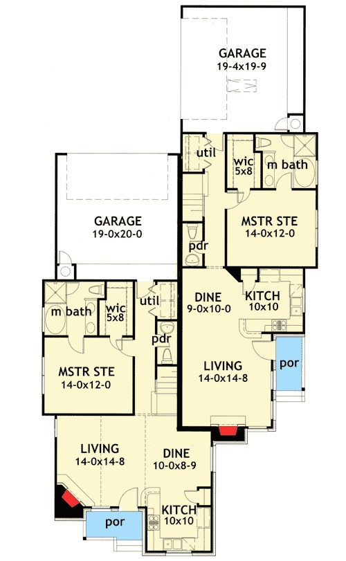 Duplex house plan with unique units 16809wg 1st floor for Floor plans for units
