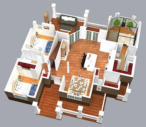 Rustic Look with Detached Garage - 16812WG floor plan - Main Level 3D View
