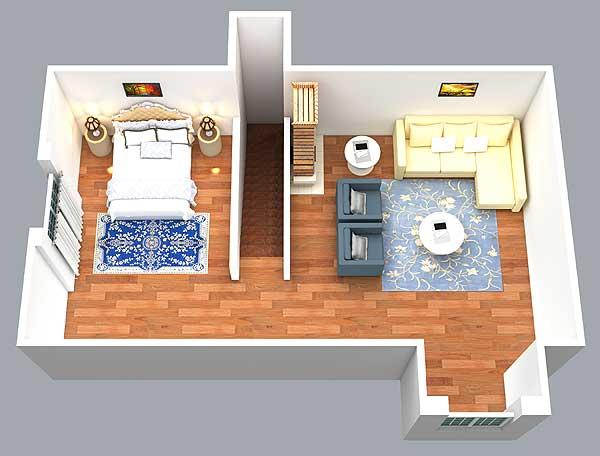 Rustic Look with Detached Garage - 16812WG floor plan - Bonus Level 3D View