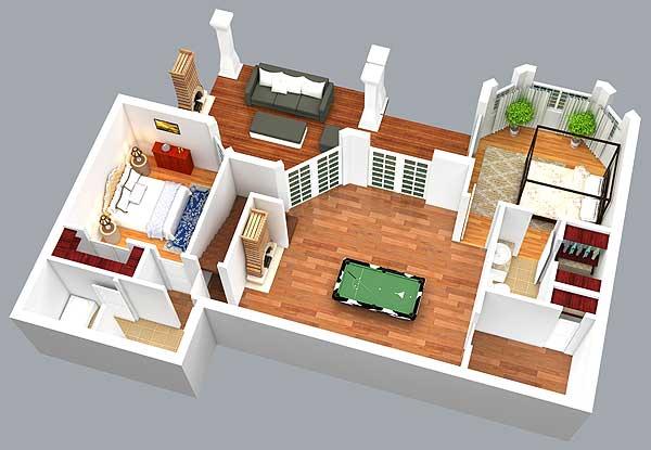 Rustic Look with Detached Garage - 16812WG floor plan - Lower Level 3D View