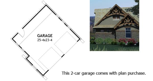 Rustic Look with Detached Garage - 16812WG floor plan - Detached Garage