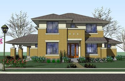 Prairie style home with porte cochere 16817wg for Prairie house plans designs