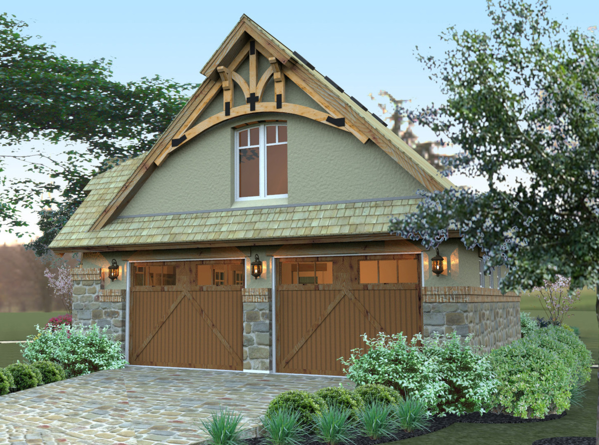 Detached 2 car gar with rustic timbers 16859wg for Rustic garage plans