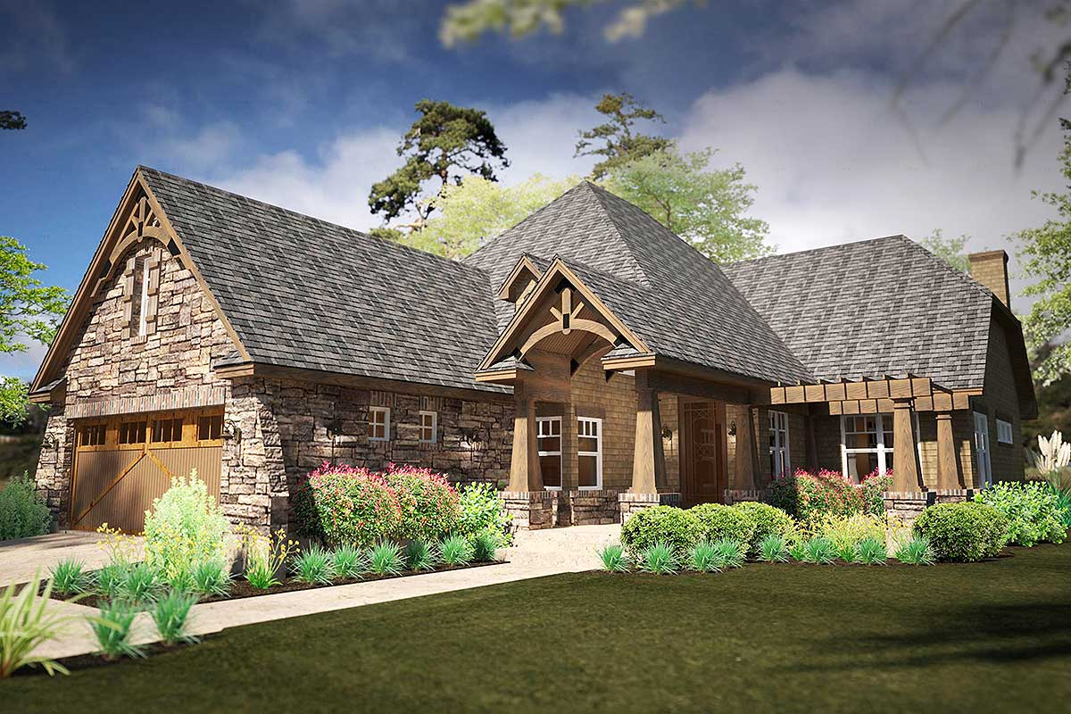 Narrow Rugged House Plan with Rear Lanai - 16893WG | Architectural ...