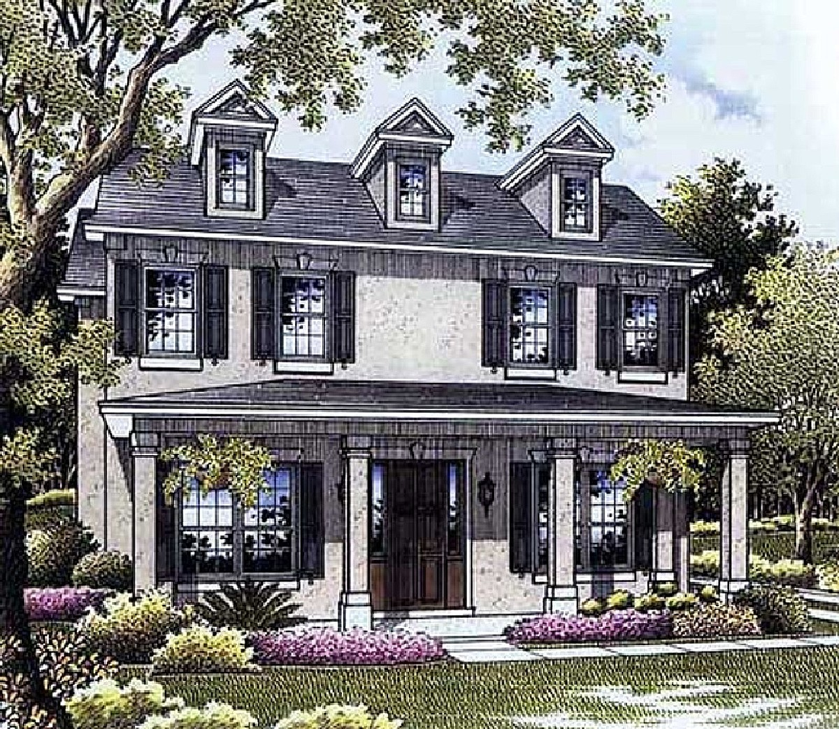Colonial House Plans: Southern Colonial House Plan - 17370AC