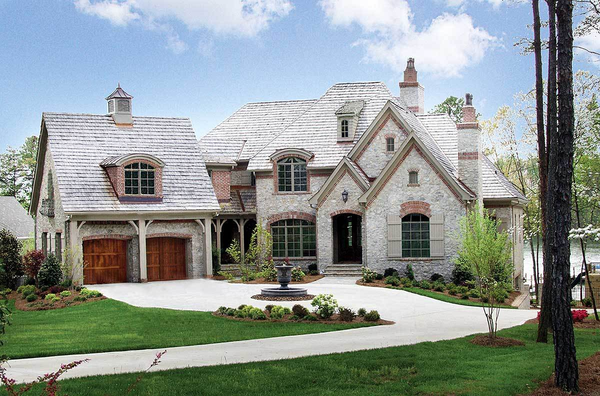 Stone and brick french country 17528lv architectural for Stone house plans