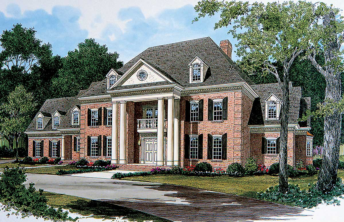Stately georgian manor 17563lv architectural designs for Design traditions home plans
