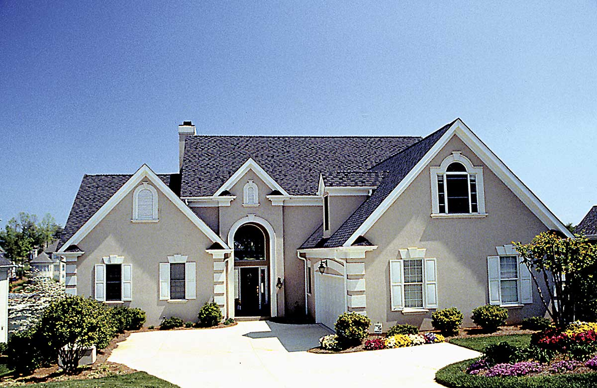 Stucco european with full basement 17630lv for Stucco house plans