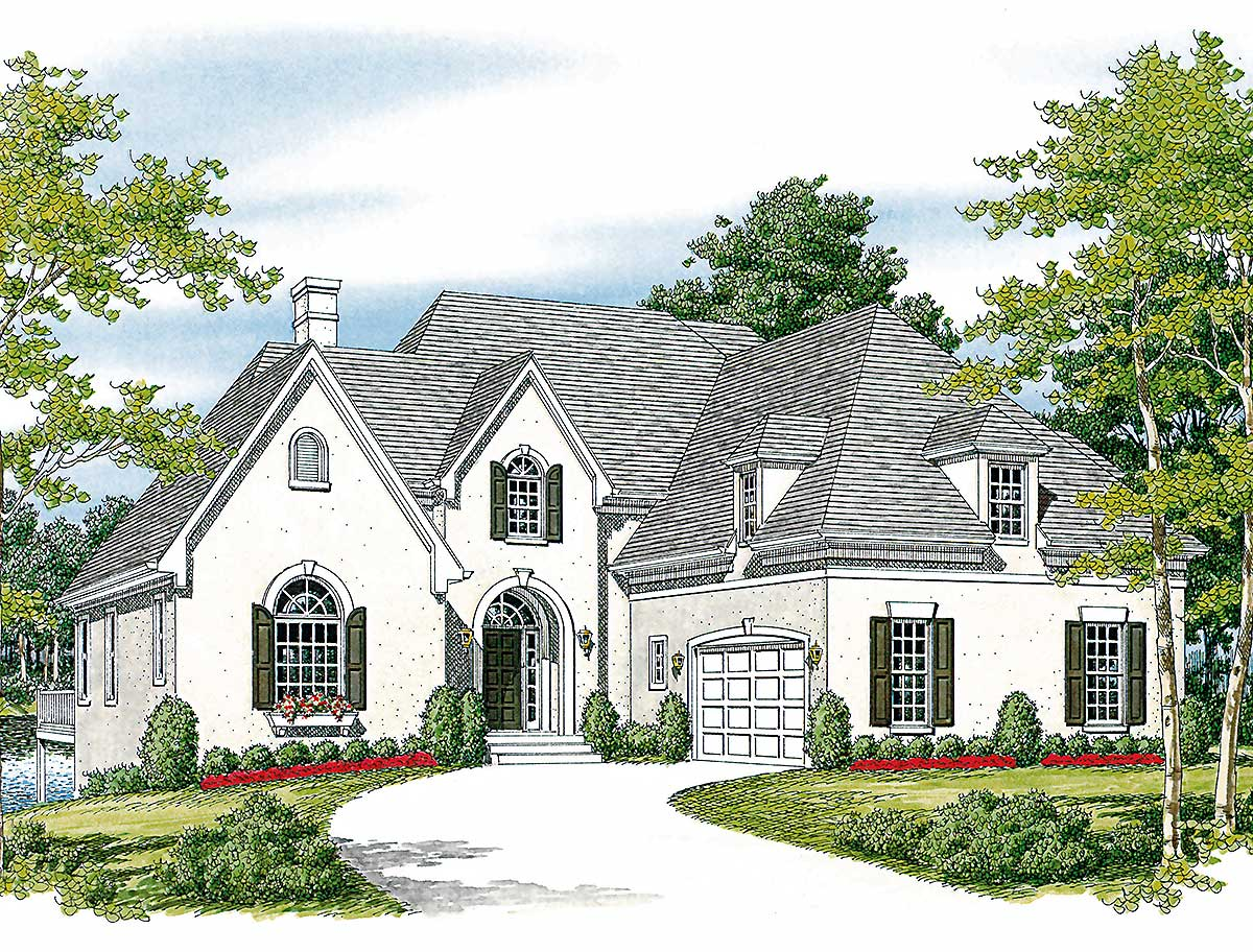 Stucco and stone 17634lv architectural designs house for Stucco home plans