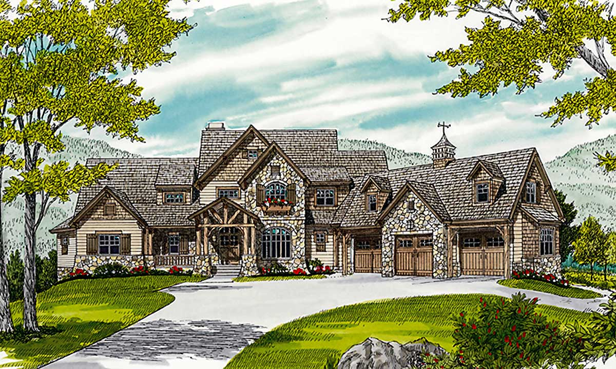 Grand mountain retreat 17657lv architectural designs for Retreat house plans