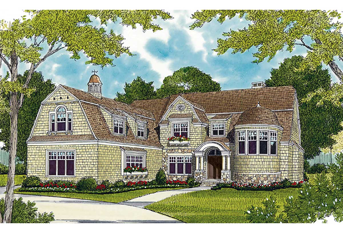 Luxurious shingle style home plan 17658lv 1st floor for Luxury shingle style house plans