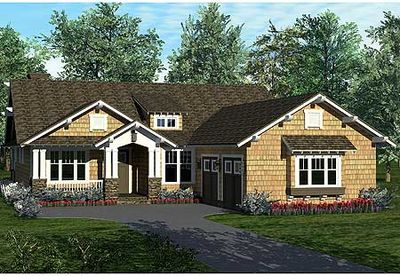 One Story Craftsman Home Plan 17704LV 1st Floor Master