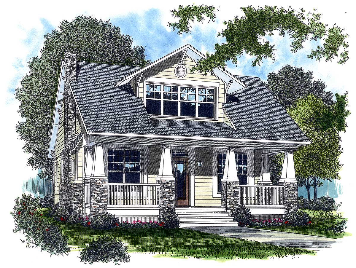 Appealing cottage 1772lv 2nd floor master suite for Modern craftsman home plans