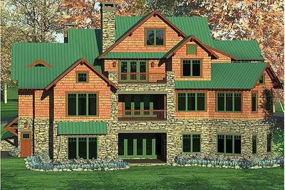 Rustic mountain home plan with 2 kitchens 17734lv 1st for Rustic vacation home plans