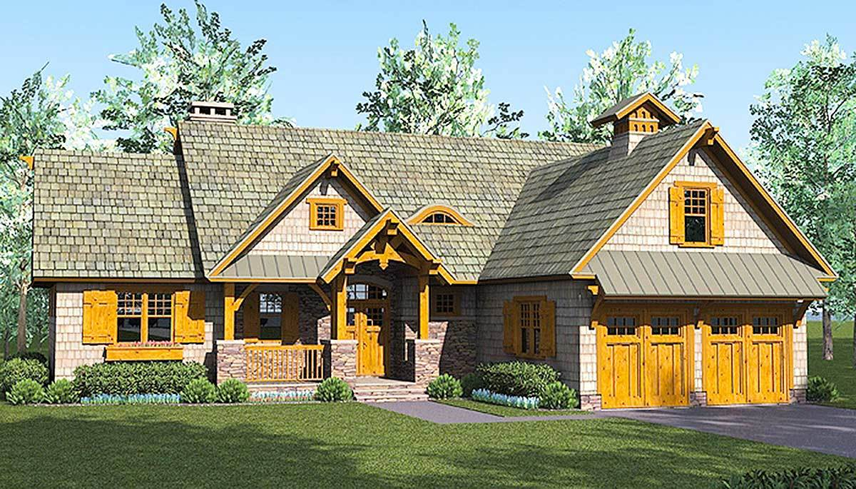 Rustic craftsman lodge 17742lv architectural designs for Rustic craftsman house plans