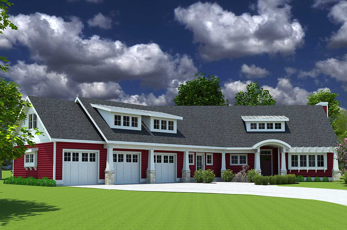 Red cottage with in law suite 18249be architectural for Red cottage