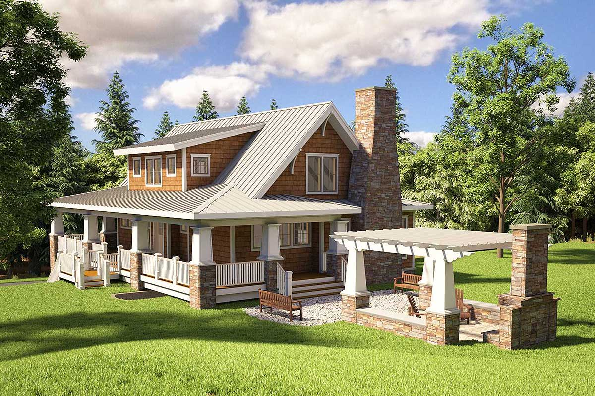 Adorable cottage with wraparound views 18250be for Mountain view home plans
