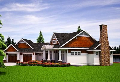 One Level Vacation Home Plan - 18262BE thumb - 02