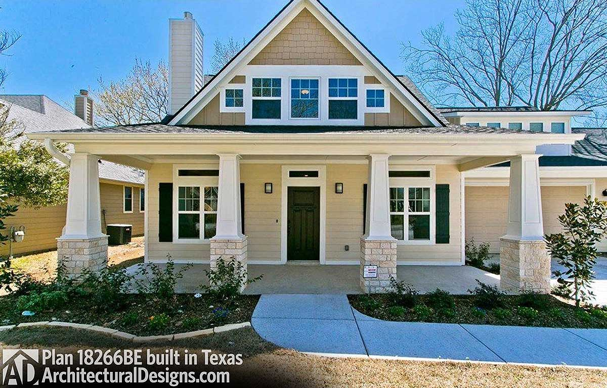 exclusive storybook bungalow house plan 18266be comes to life in texas