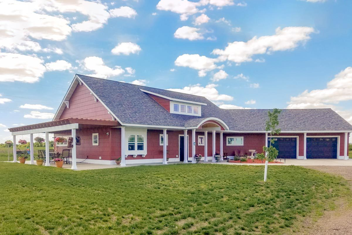 Attractive Angled Ranch Home Plan