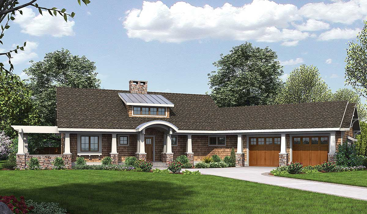 Attractive Angled Ranch Home Plan - 18271BE